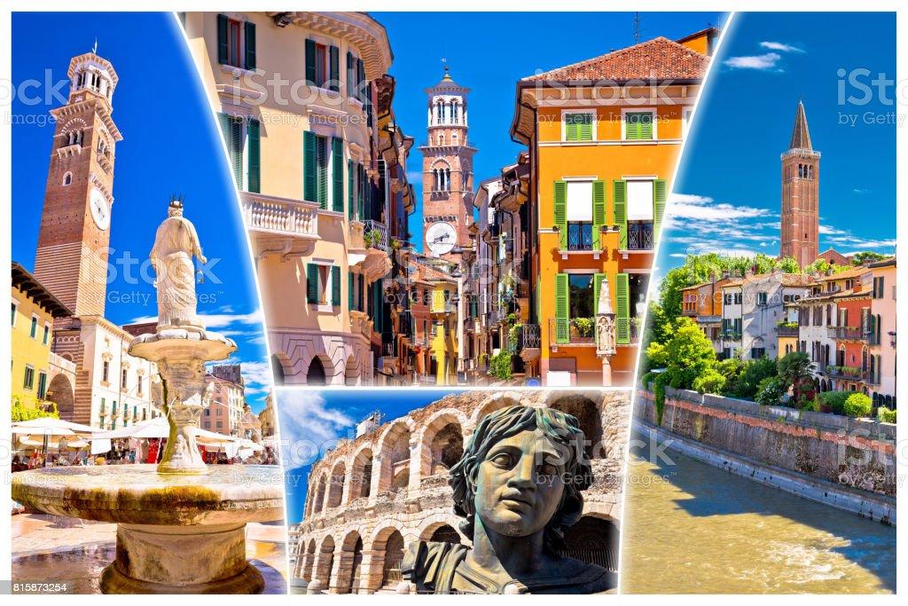 Verona colorful tourist landmarks postcard without label, Veneto region of Italy stock photo
