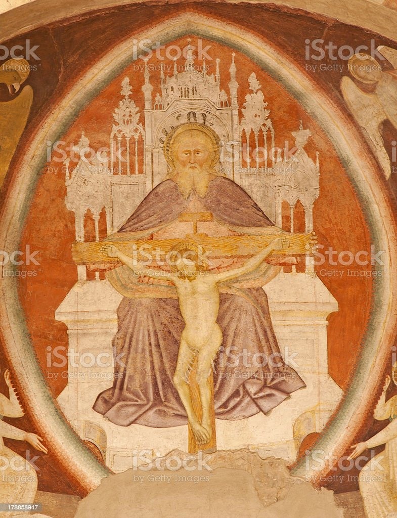 Verona - holy Trinity from Chiesa di Santissima Trinita stock photo