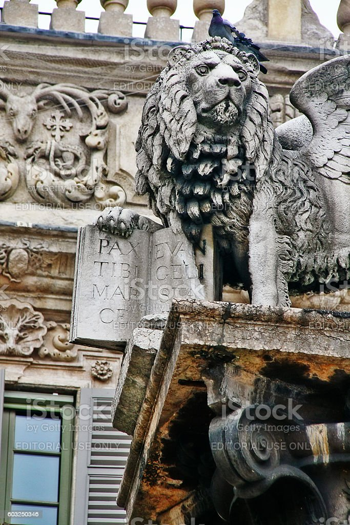 Verona, Italy - March 20, 2010 - Lion of Saint Mark stock photo