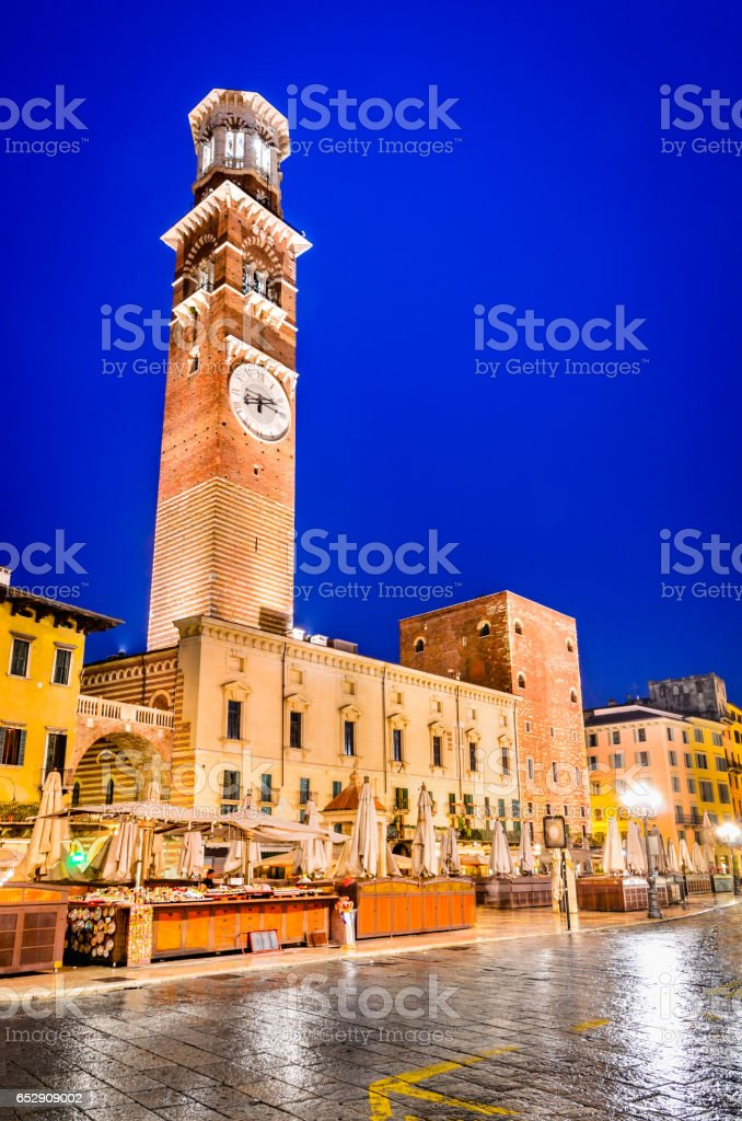 Verona, Italy - Torre dei Lamberti stock photo