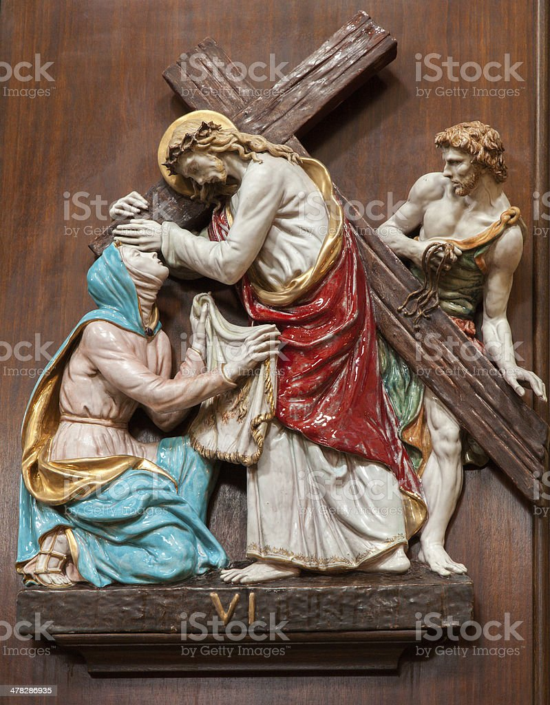 Verona - Jesus and Veronica on the cross way royalty-free stock photo