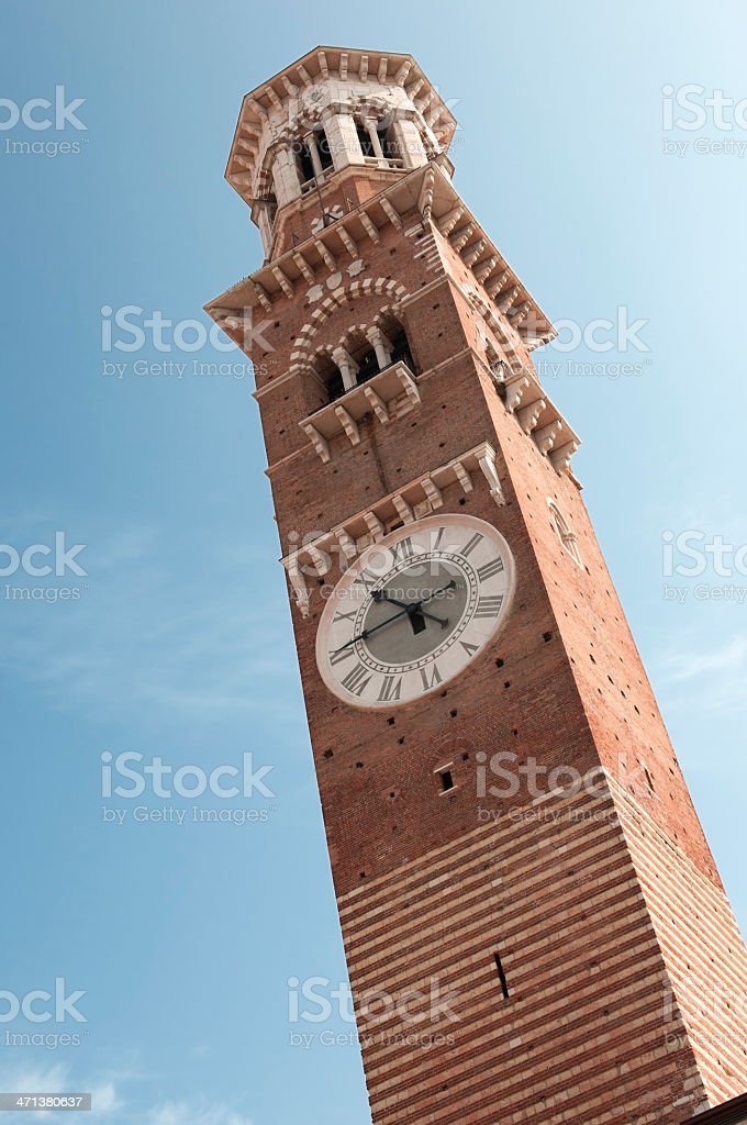 Verona Lamberti Tower stock photo