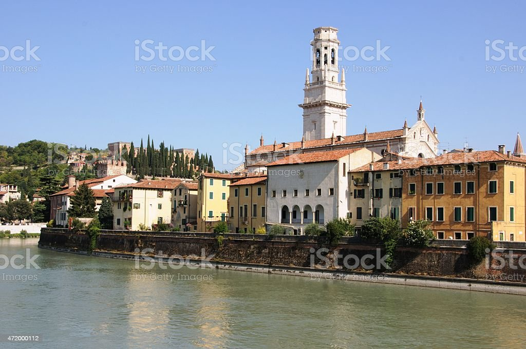 Verona on River Adige under blue sky in summer stock photo