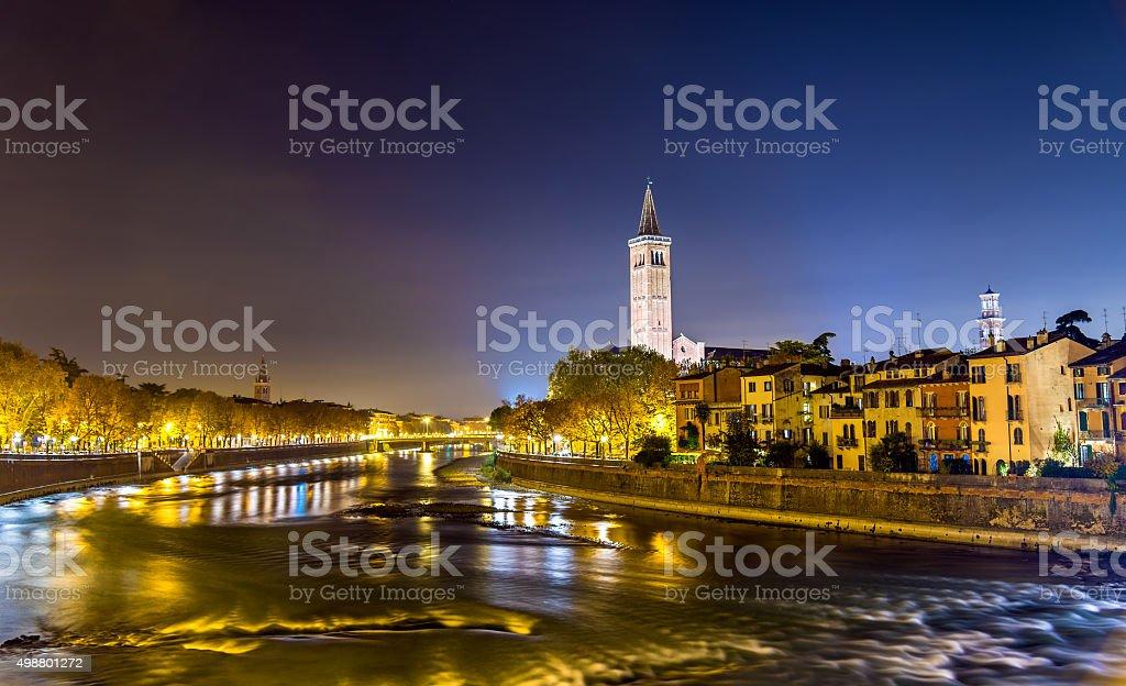 Verona over the Adige river - Italy, Veneto stock photo