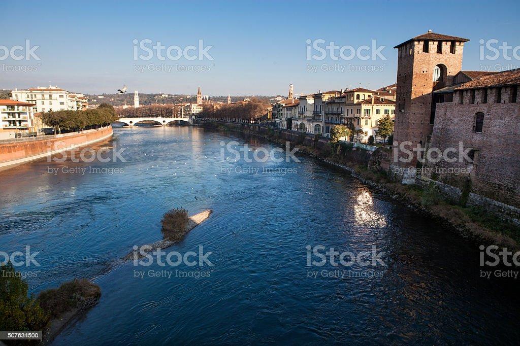 Verona panorama, Italy stock photo
