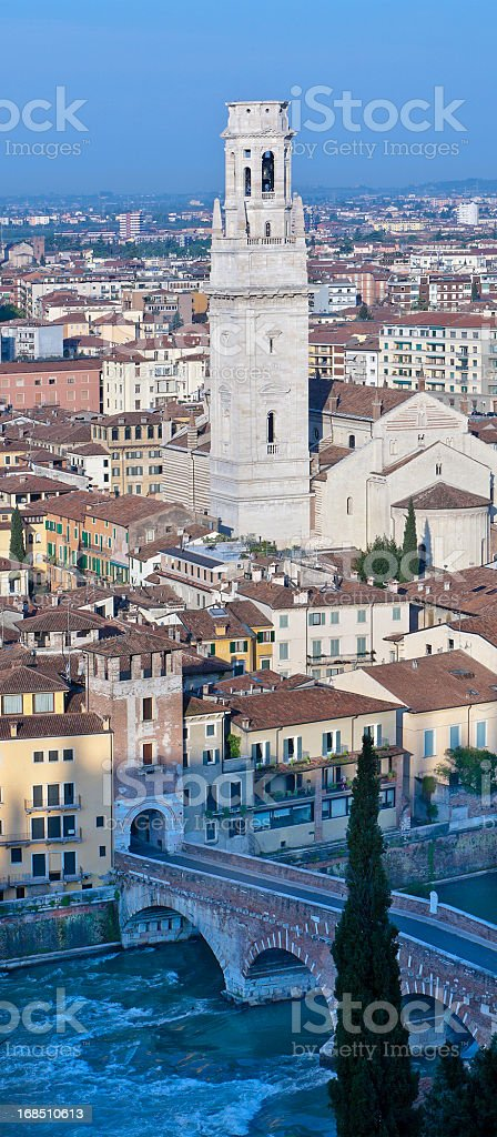 Verona seen from Castel San Pietro stock photo
