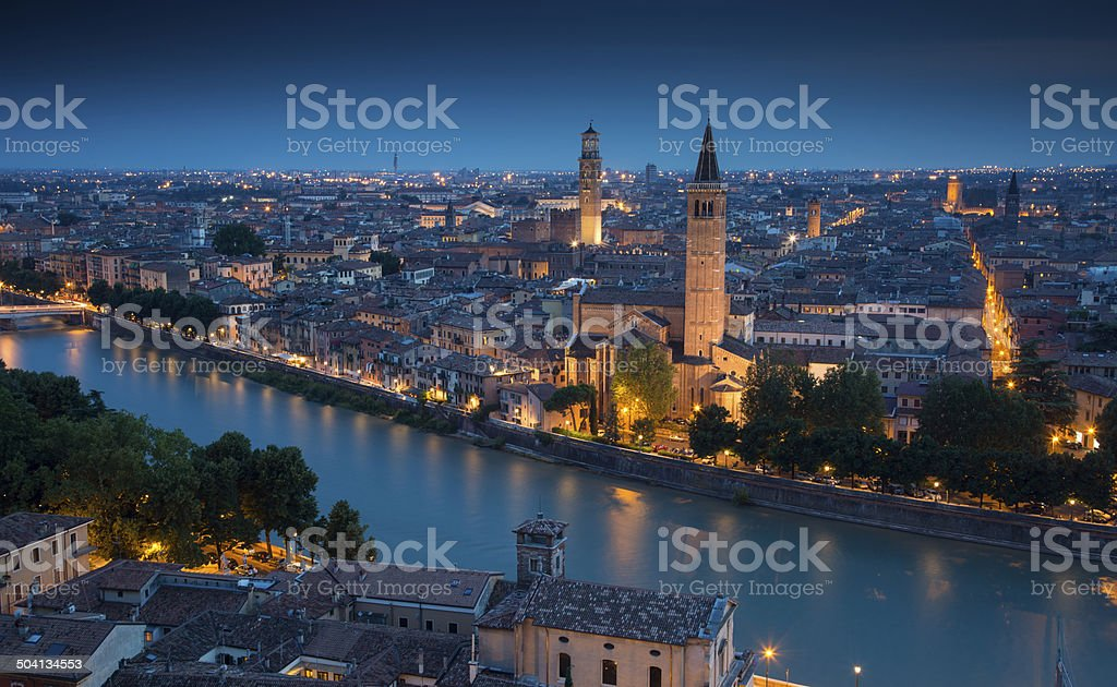Verona Skyline at Night royalty-free stock photo