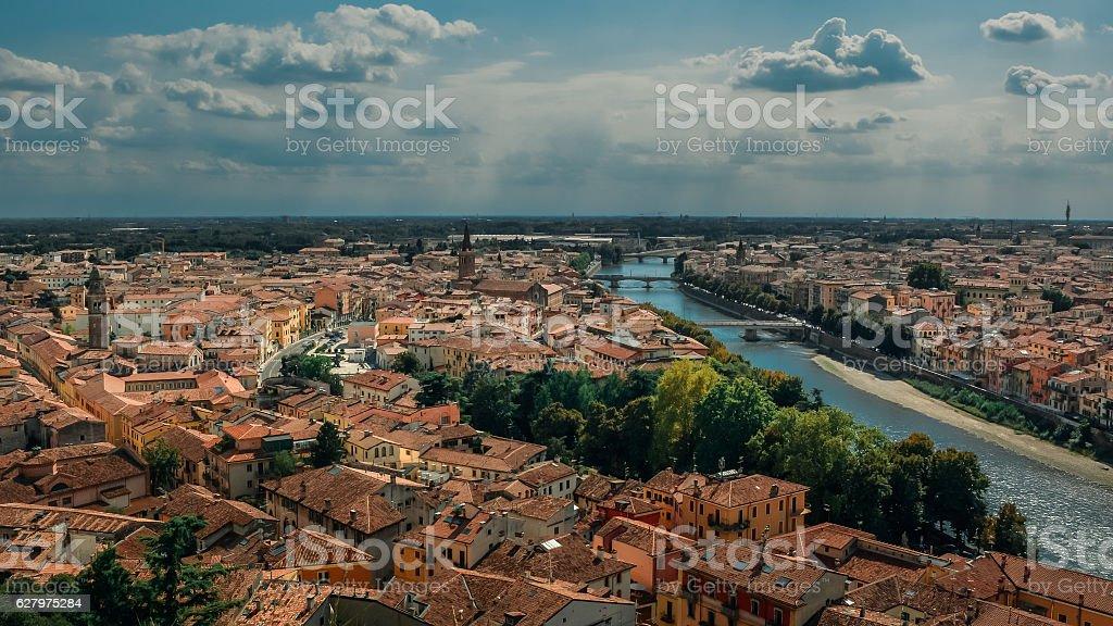 Verona skyline with river Adige Italy stock photo