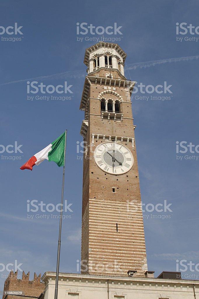 Verona The Torre dei Lamberti stock photo