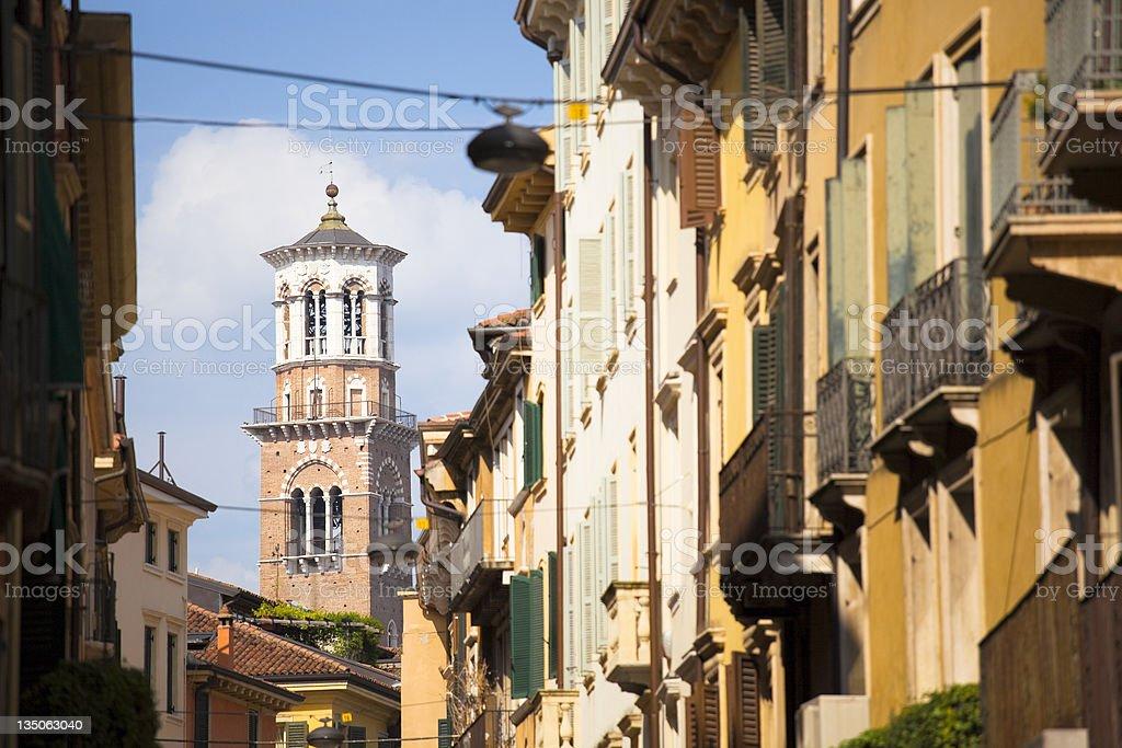 Verona, Torre dei Lamberti, Italy stock photo