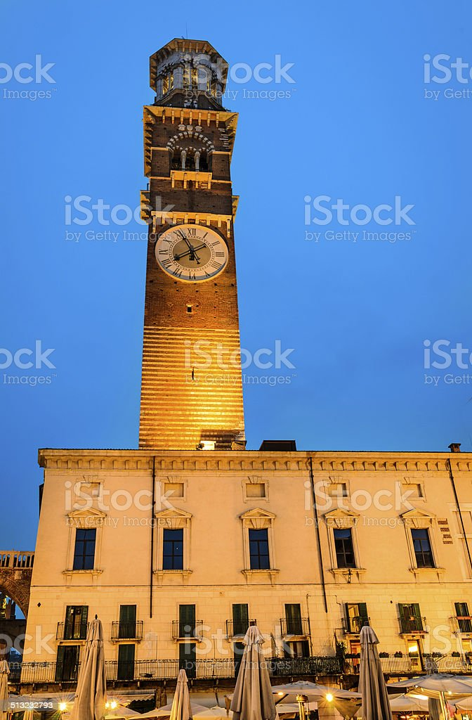 Verona, Torre dei Lamberti twilight stock photo