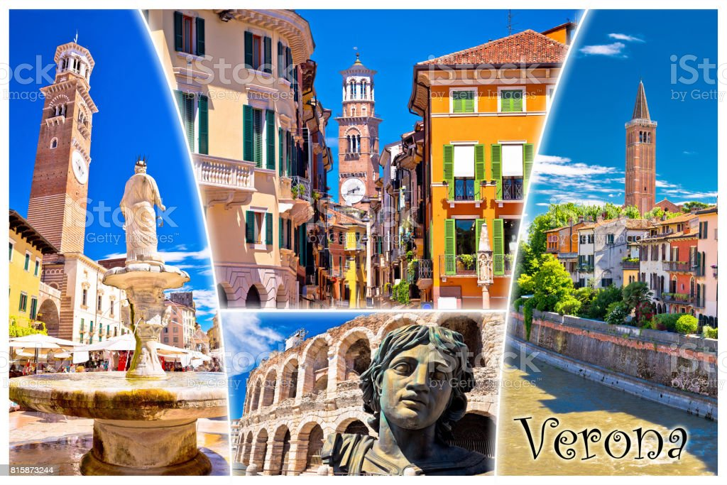 Verona tourist landmarks postcard with label, Veneto region of Italy stock photo