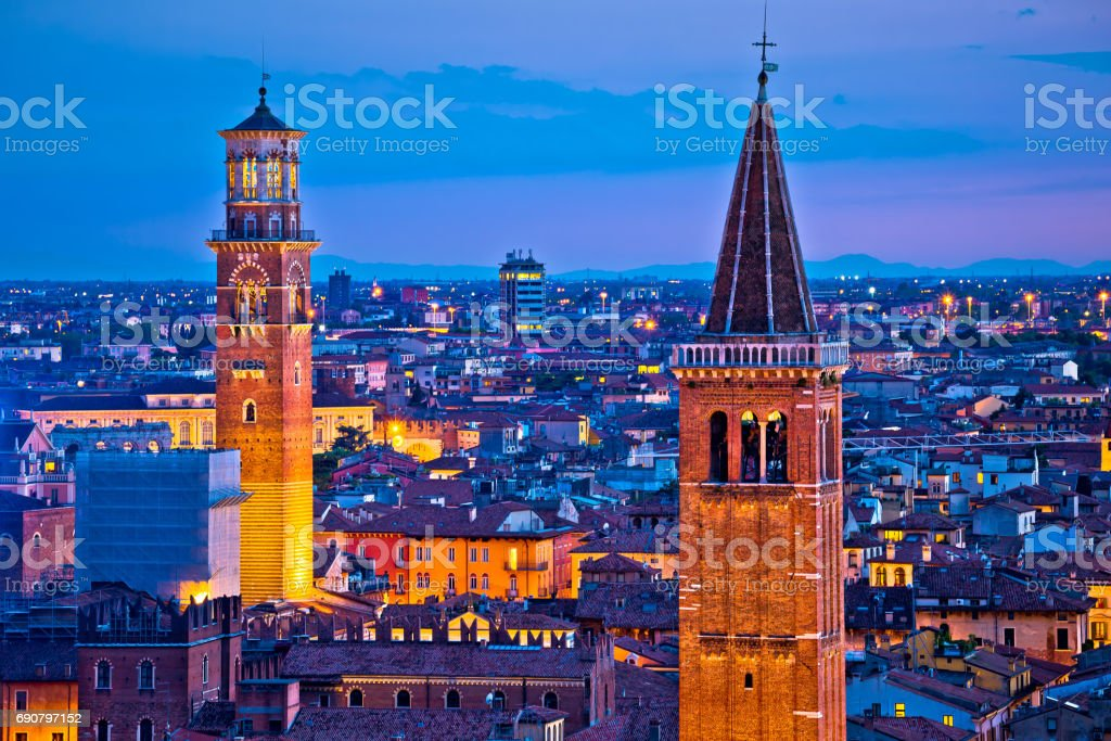 Verona towers and rooftops evening view, tourist destination in Veneto region of Italy stock photo