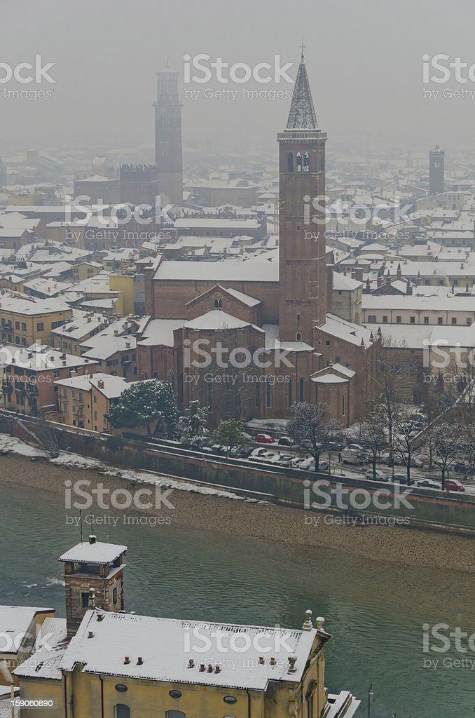 Verona Under Snow And Inside The Fog stock photo