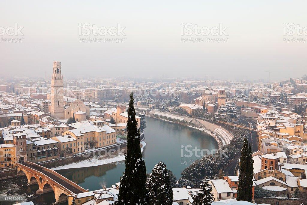 Verona Under Snow stock photo