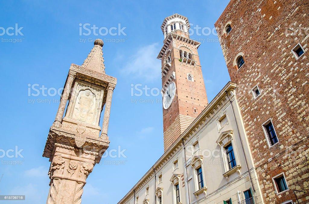 Verona Veneto Colonna Antica Torre dei Lamberti Piazza delle Erbe stock photo
