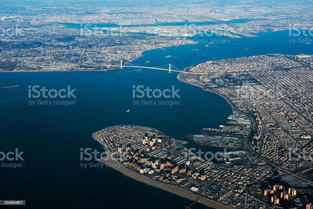 Verrazano Narrows Bridge Aerial View stock photo