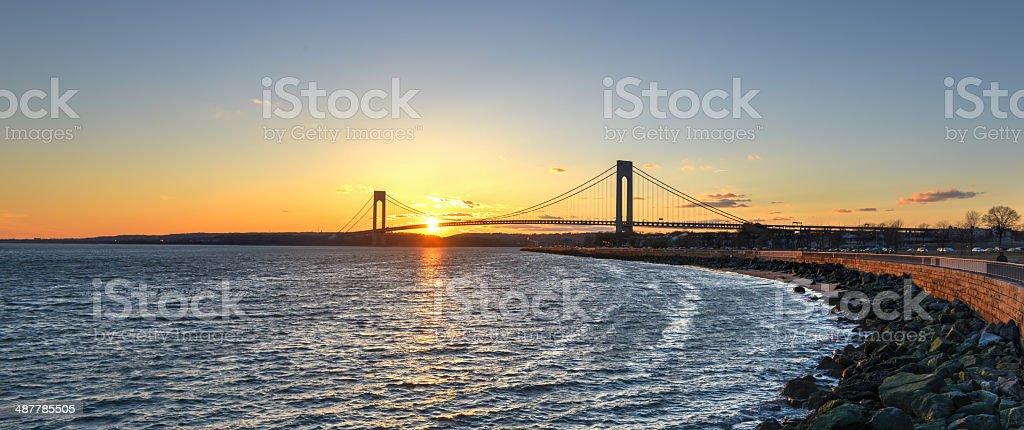 Verrazano Narrows Bridge At Sunset stock photo