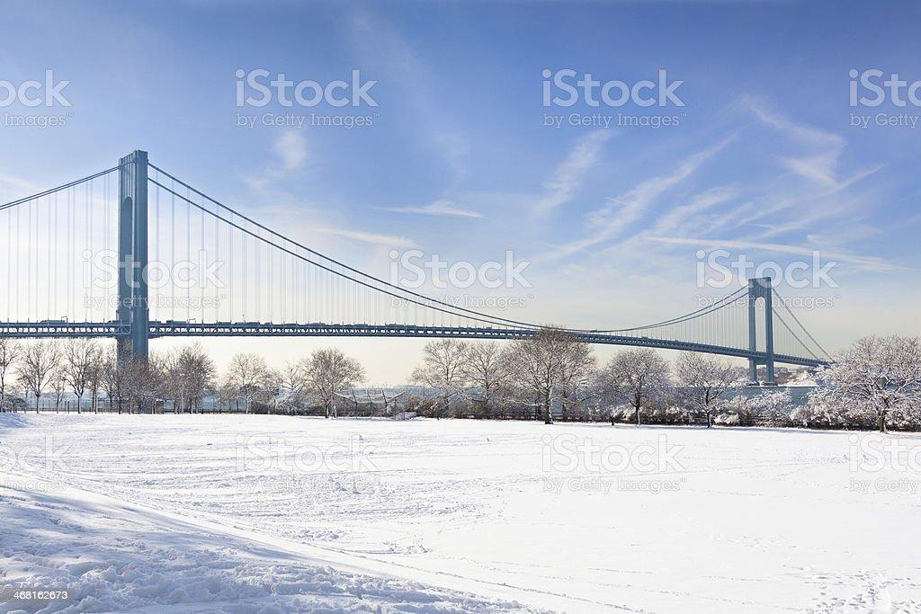 Verrazano Narrows Bridge in Winter, New York City. stock photo