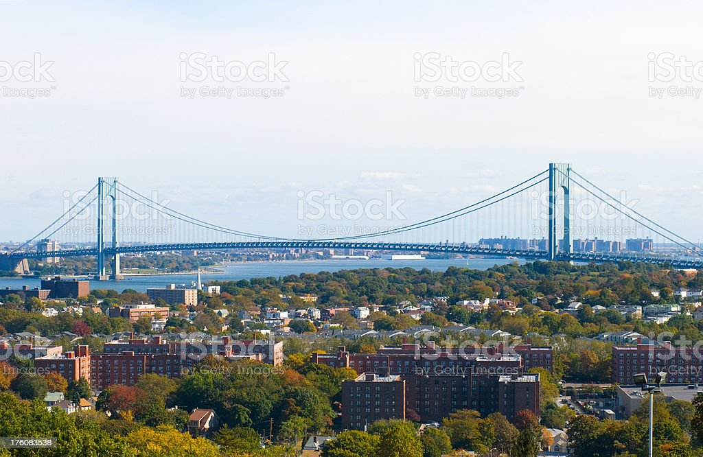 Verrazano Narrows Bridge view stock photo