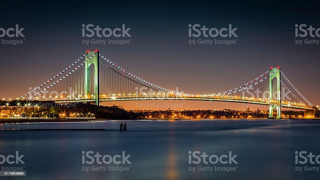 Verrazano-Narrows Bridge at dusk stock photo