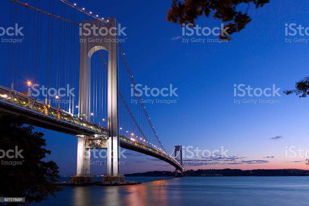 Verrazano-Narrows Bridge at sunset, New York City stock photo