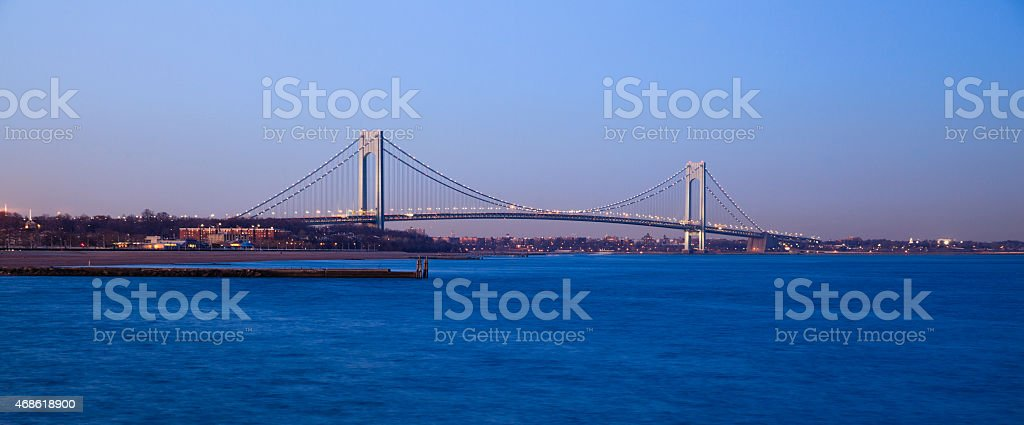 Verrazano-Narrows Bridge at sunset. stock photo
