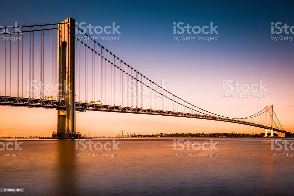 Verrazano-Narrows Bridge at sunset stock photo