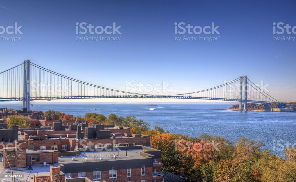 Verrazano-Narrows Bridge in morning, New York. Clear blue sky. stock photo