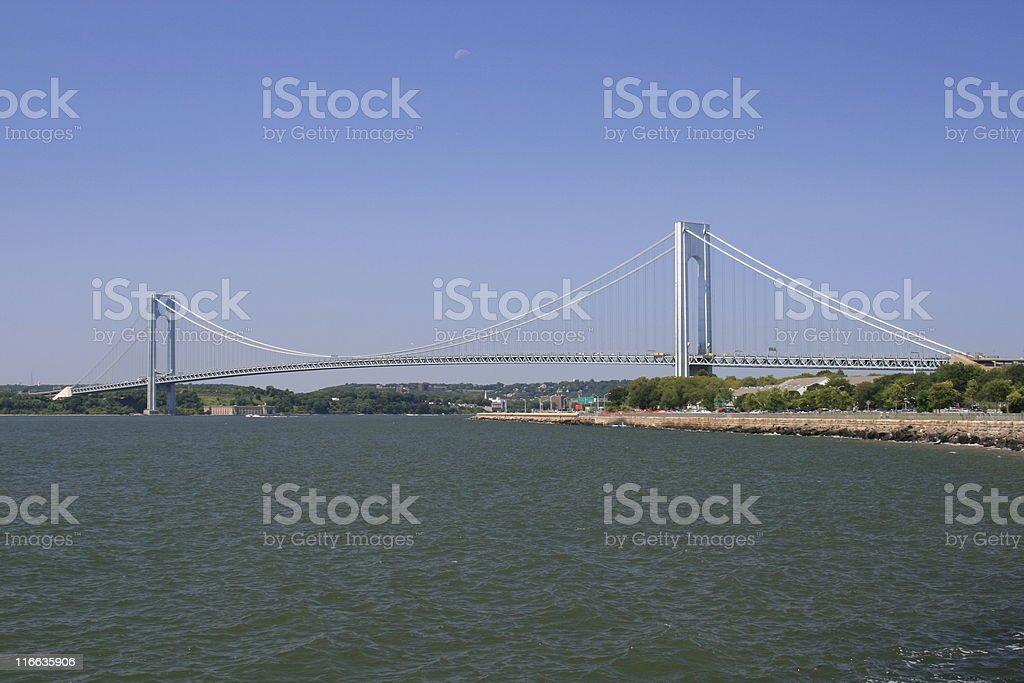Verrazano-Narrows Bridge, New York City. Clear Blue sky. royalty-free stock photo