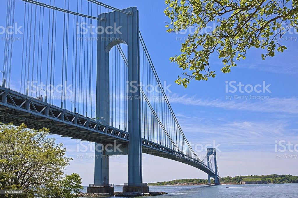 Verrazano-Narrows Bridge, New York. Clear blue sky with clouds. royalty-free stock photo