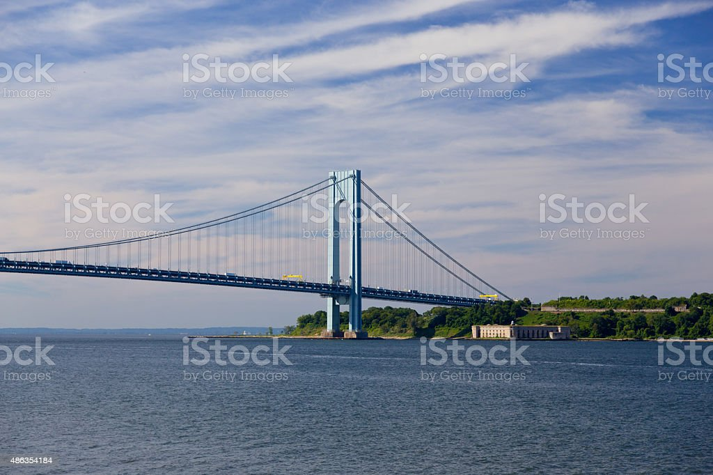 Verrazano-Narrows Bridge on a summer morning, New York City. stock photo