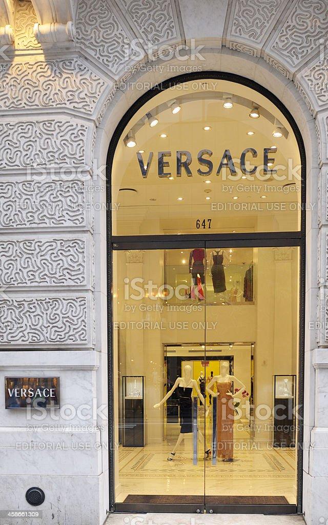 Versace Store Window Display.NYC stock photo