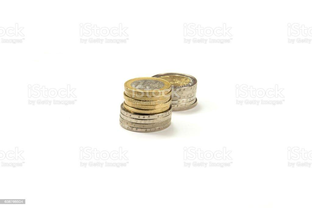 Verschiedene Euro Münzen stock photo