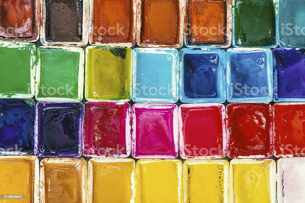 Verschiedene Wasserfarben stock photo