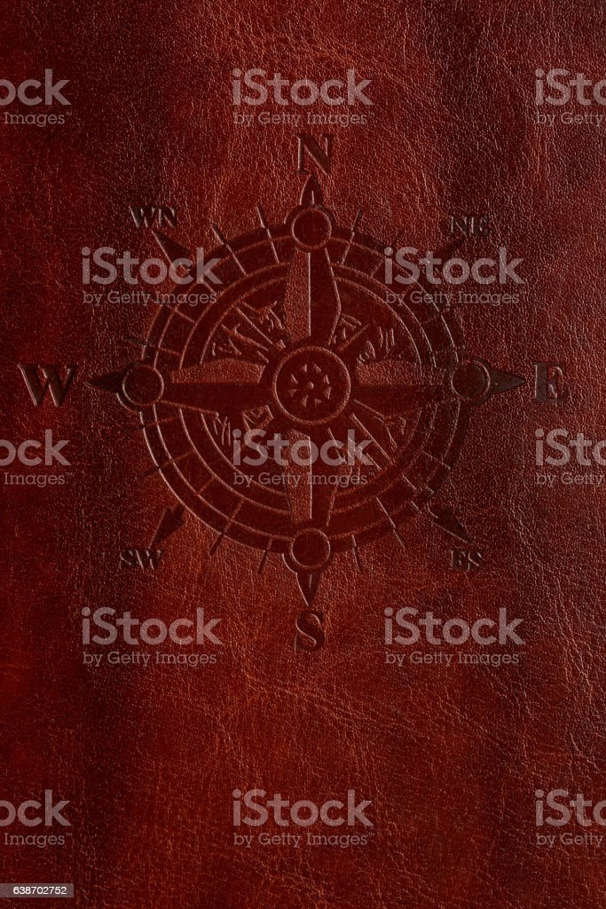 Vertical adventure leather cover stock photo