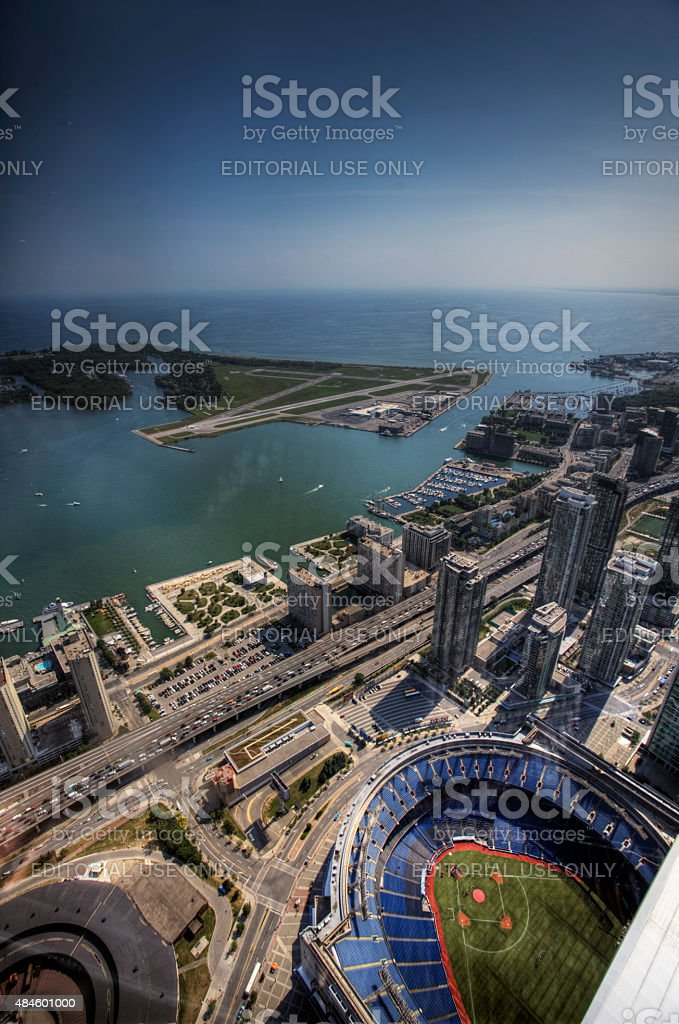 Vertical aerial view of the Rogers Center in Toronto, Canada stock photo