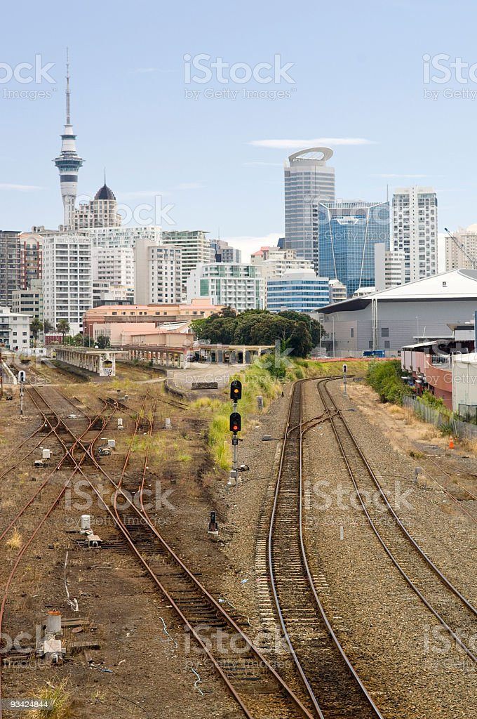 Vertical Auckland Downtown Skyline royalty-free stock photo
