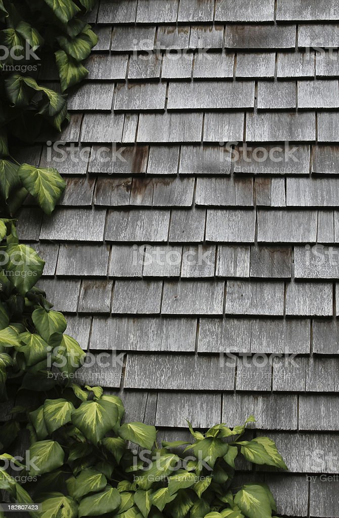 vertical background - weathered shingles outdoors stock photo