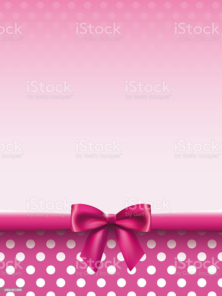 Vertical background with a satin bow in pink colors stock photo