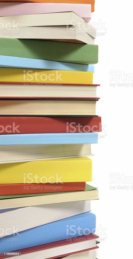 Vertical border of colorful books royalty-free stock photo