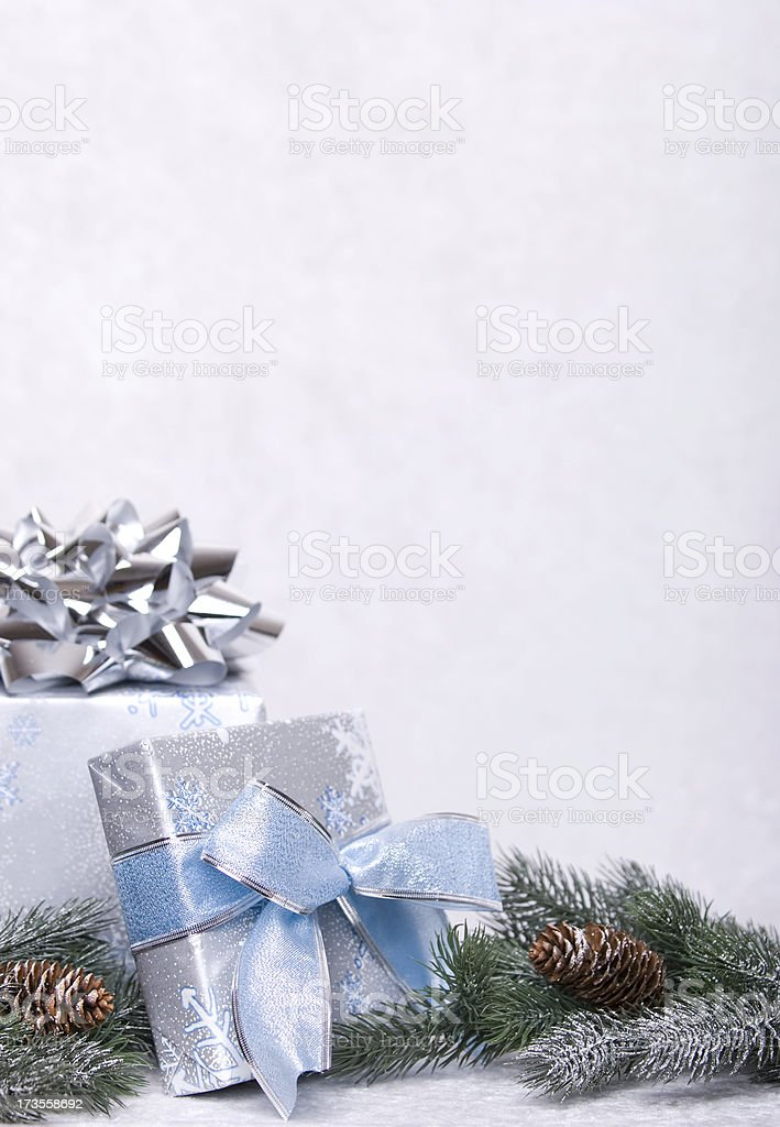 Vertical Christmas Gift Copy Space royalty-free stock photo