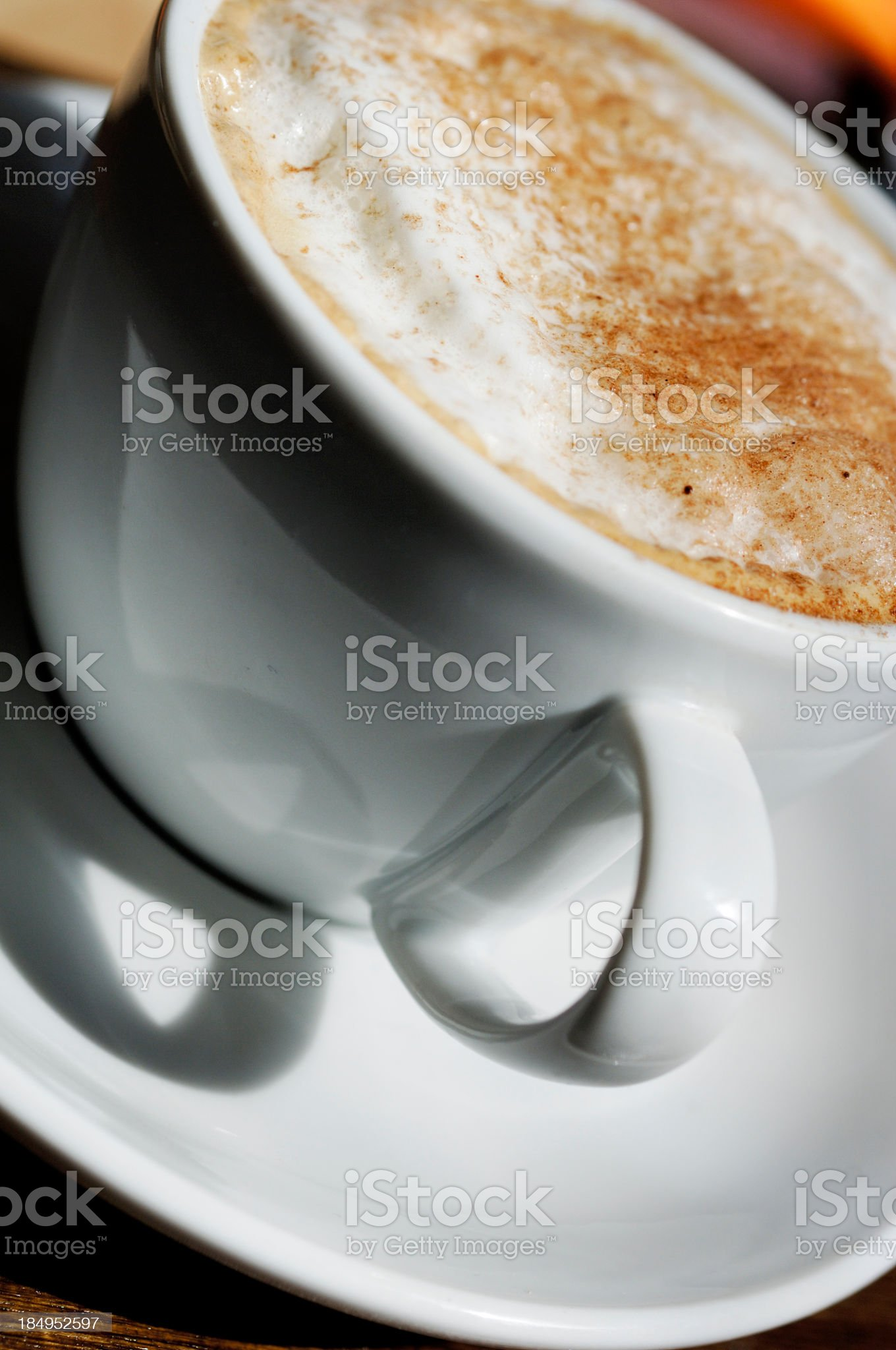 vertical close up of cappuccino foam coffee royalty-free stock photo
