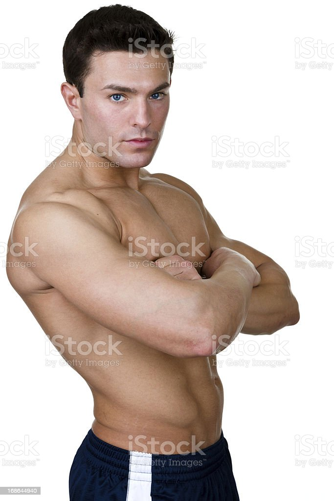 Vertical composition of muscular man royalty-free stock photo
