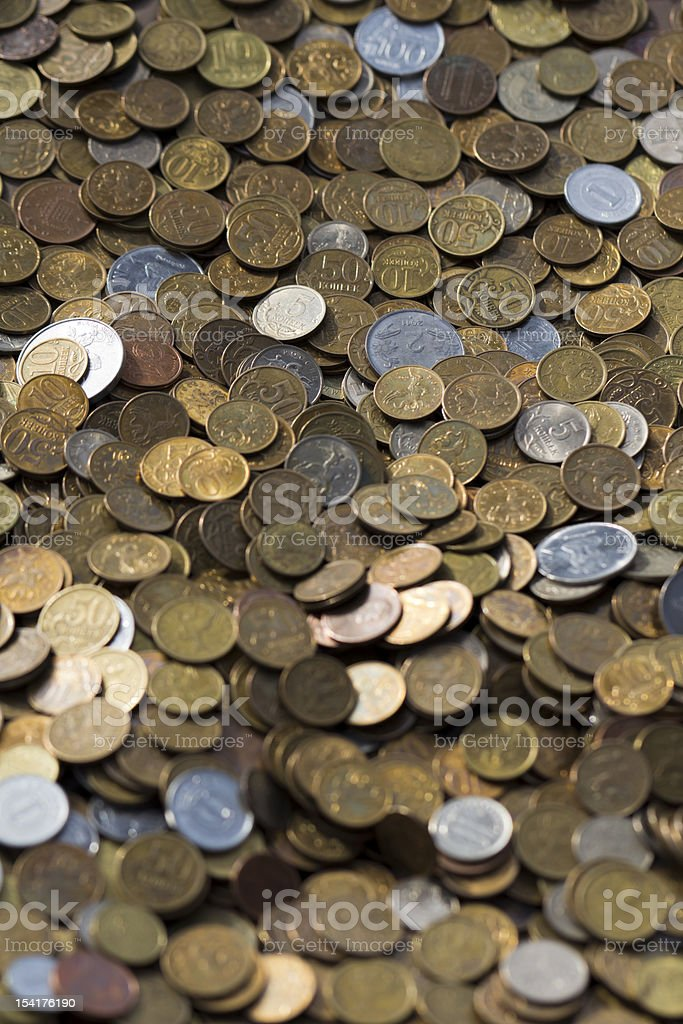 Vertical Composition of Russian Kopeck Coins stock photo