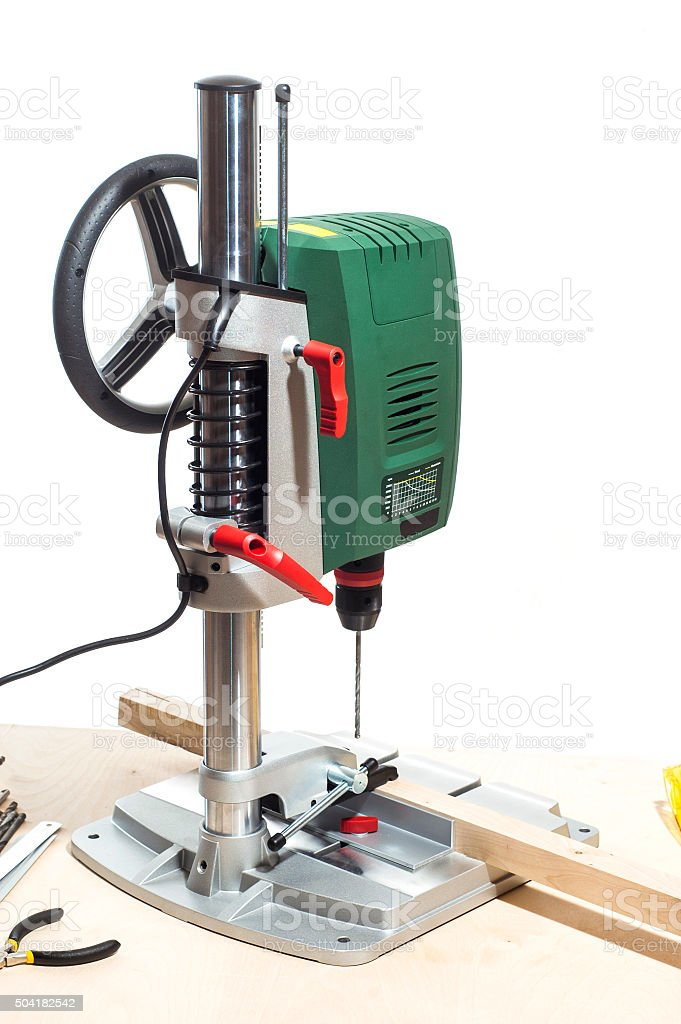 Vertical drilling machine stock photo