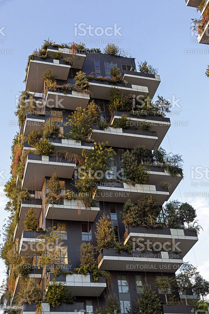 Vertical Forest apartment building ('Bosco Verticale'). Milan. stock photo