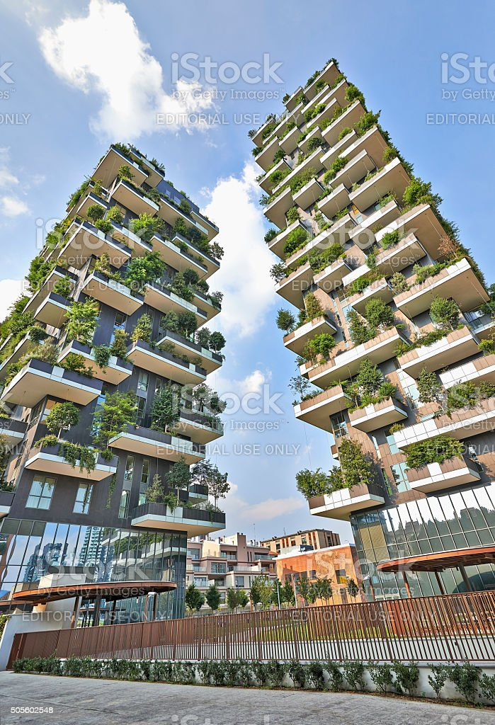 Vertical Forest apartment building stock photo
