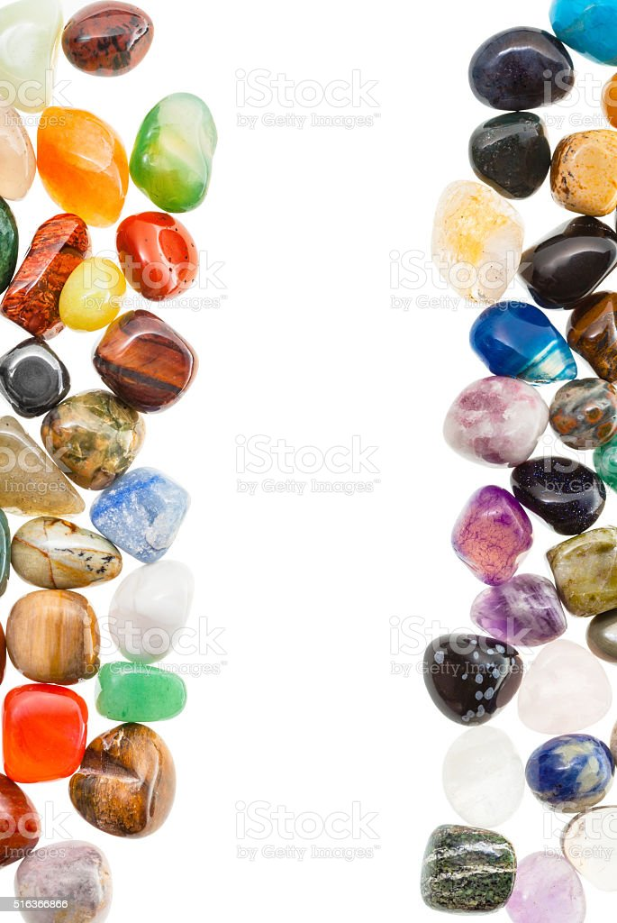 vertical frame from natural mineral gemstones stock photo