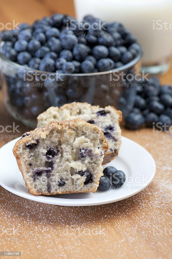 Vertical fresh blueberry muffins with berries and milk stock photo